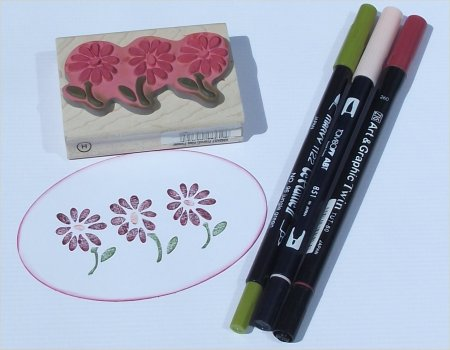 rubber stamping with colour
